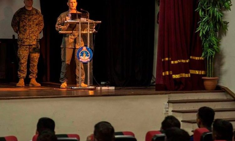 U.S. Marine Maj. John Arnold with the 13th Marine Expeditionary Unit (MEU) spoke to Sri Lankan sailors about humanitarian assistance disaster relief.