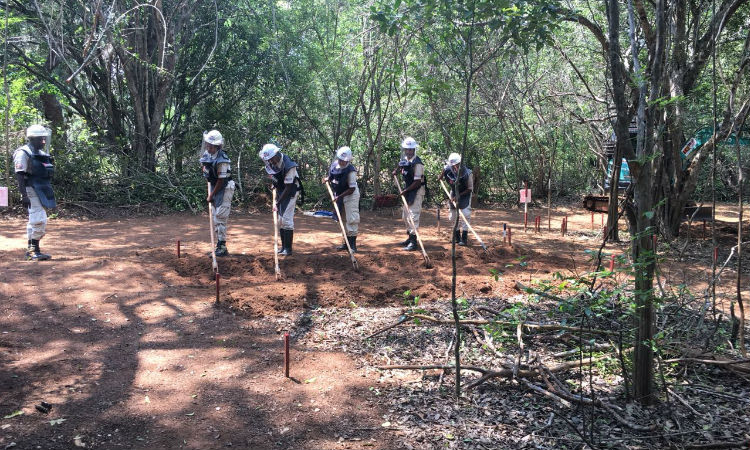 Demining staff learn the fundamentals of clearing minefields. (Embassy Image)